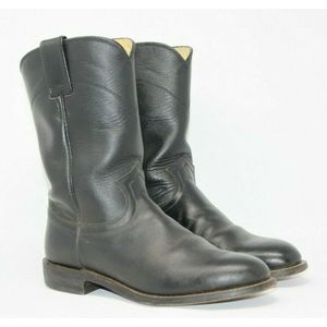 Justin Size 7 D Black Leather Boots